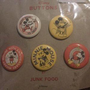 Junk Food X Retro Disney 90th Mickey Pins Buttons